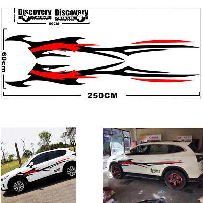 2Pcs Race Car Side Body Vinyl Long Spray Flames Fire Wheel Stripe Decal Stickers