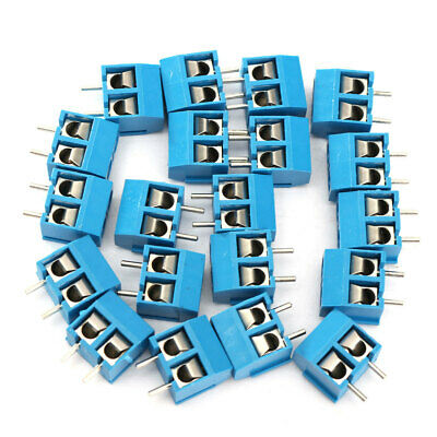 20pcs Blue 2-pin Screw Terminal Block Connector 5.08mm Pitch Panel Pcb Mount Diy