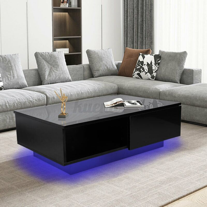 Modern LED Coffee Table w/ High Gloss Drawer End Side Table Living Room Storage