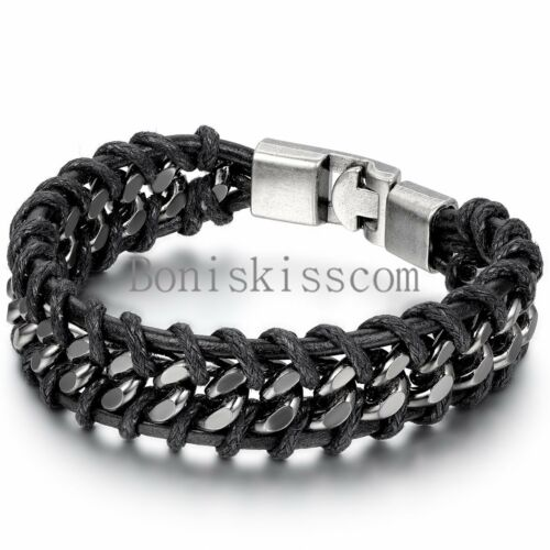 Bracelet - Black Braided Leather Silver Stainless Steel Cuban Chain Men's Bracelet Bangle