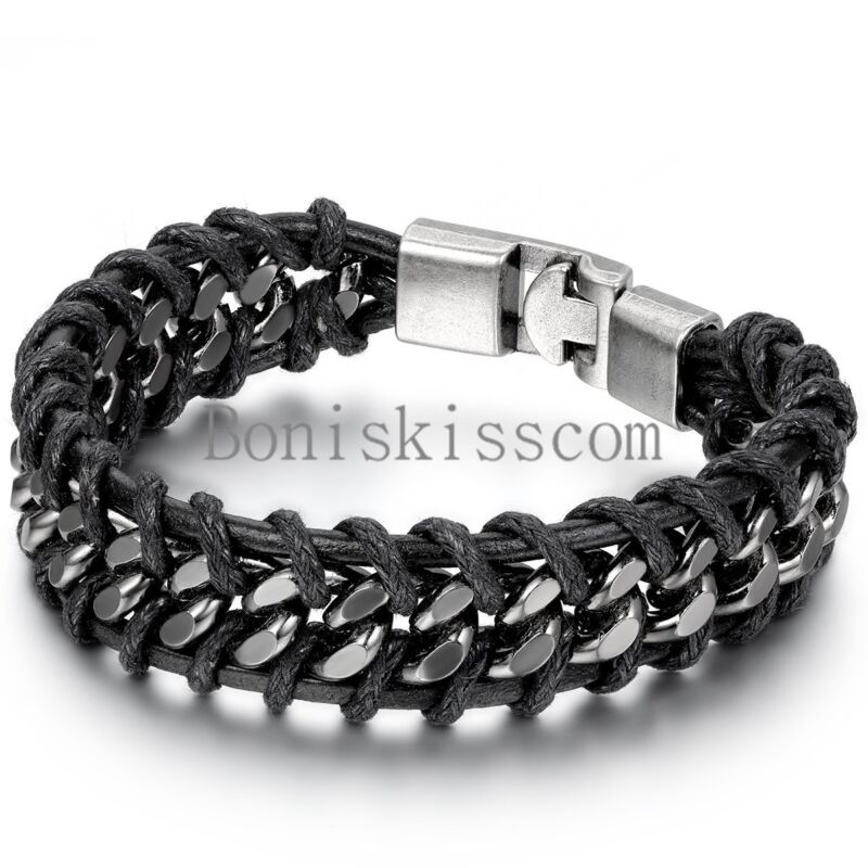 Black Braided Leather Silver Stainless Steel Cuban Chain Men
