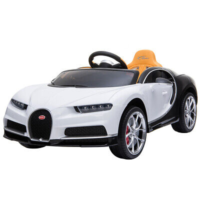 12V Kids Electric Bugatti Chiron Ride on Car w/MP3,AUX, and LED - White/Black