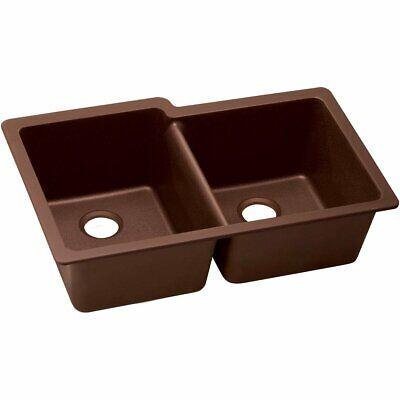 Elkay Quartz Classic ELGU250RPC0 Pecan Offset Double Bowl Undermount Sink - New - Offset Undermount Sink