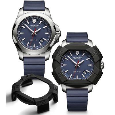 Victorinox INOX 241688 Blue  Mens Swiss Army Watch Rubber Strap New