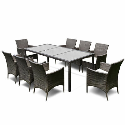 Garden Furniture - 9PCS Patio Furniture Set Dining Brown Rattan Table Chairs Cushions Garden New