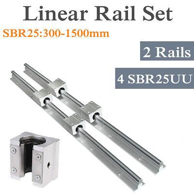 2x Sbr25 L300-1500mm Fully Supported Linear Rail 4 X Sbr25uu Block Bearing Cnc