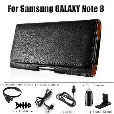 For Samsung Galaxy Note 8 With Accessories Leather Holster Case Cover Belt Clip