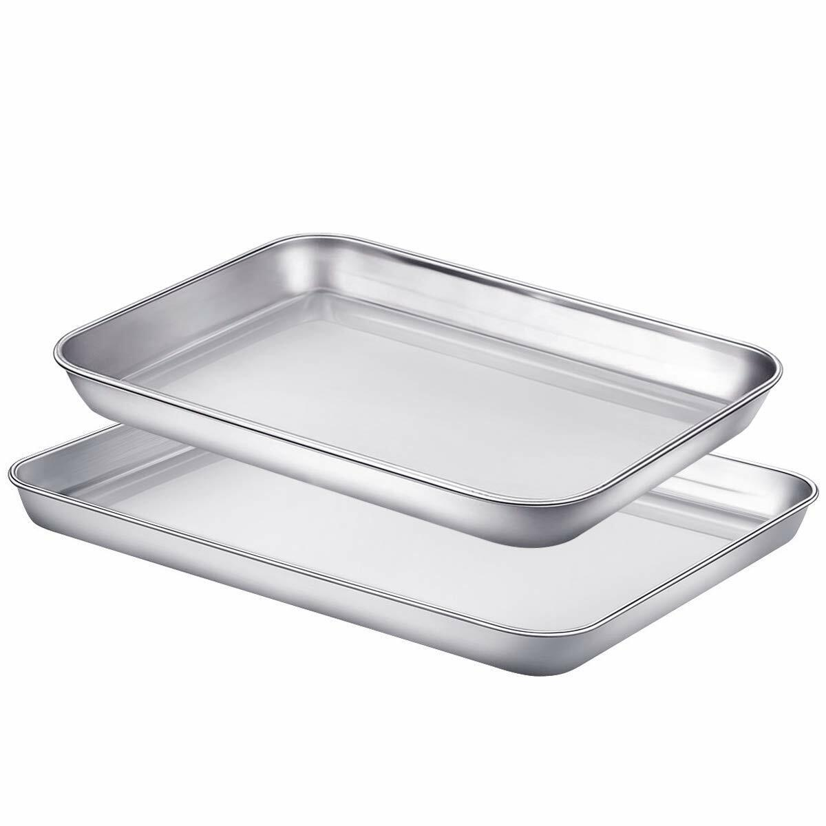Cookie Sheets Toaster Oven Pans for Baking, Small Stainless
