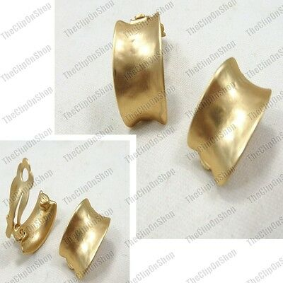 CLIP ON EARRINGS curved MATTE GOLD TONE vintage retro chunky huggie half hoop