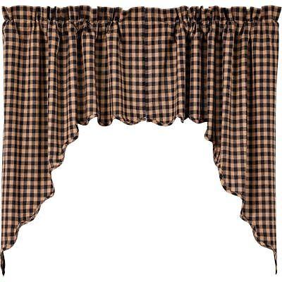 Black & Tan Check Window Swag Set Country Farmhouse Style White Cotton Lined ()