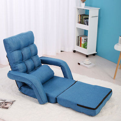Adjustable Fabric Folding Chaise Lounge Sofa Chair Floor Couch Blue with Armrest ()