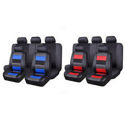 Full Set Universal Faux Leather Car Seat Covers with Mesh Polyester Breathable