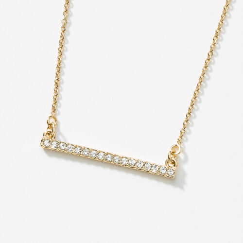 Touchstone Crystal Pavé Bar Necklace, Gold Item 4047NF Crystal set in gold plati