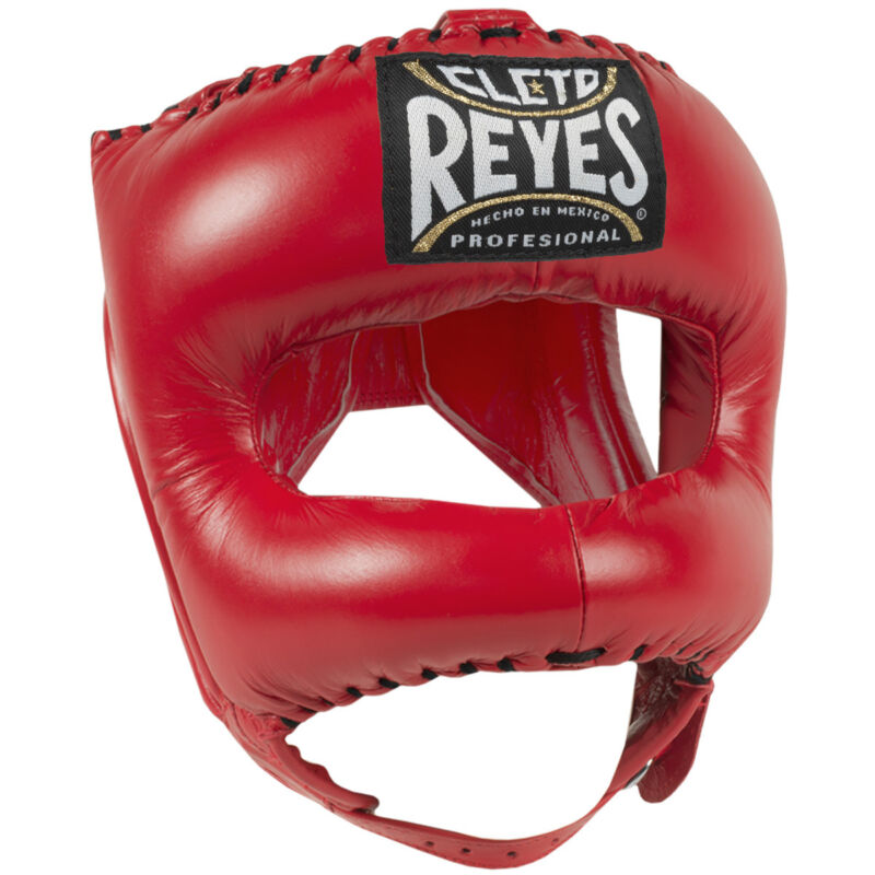 Cleto Reyes Traditional Leather Boxing Headgear with Nylon Face Bar - Red