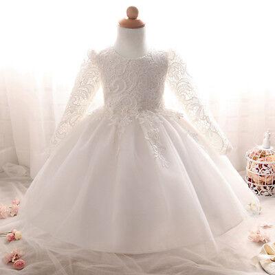 Long Sleeve Communion Dress (Lace Long Sleeve Flower Girl Dress For Wedding Bridesmaid Baptism Communion)