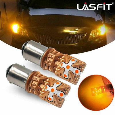 Lasfit Amber Yellow LED Front Turn Signal DRL Parking Light Bulbs 1157 7528 2PCS