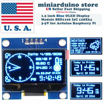 1.3 I2c Iic 128x64 Led Oled Lcd Display Module Arduino Blue Color Ssd1106 Us