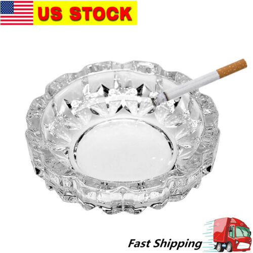 """4.8"""" Round Heavy Duty Glass Smoking Ashtray for Indoor and Outdoor Home Office"""