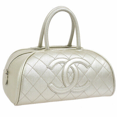 CHANEL Quilted CC Hand Bag Silver Caviar Skin Leather AK37961f