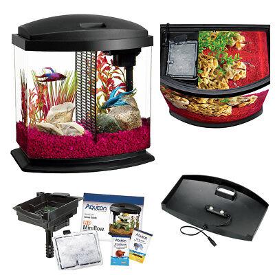 Betta Fish Tank Bowl Aquarium Kit 2.5 Gallon with Divider for 2 Bettas LED Lit