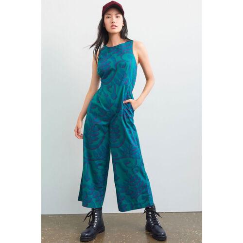 Anthropologie Porridge Corisana Green Wide Leg Jumpsuit One Piece NWT Size 12