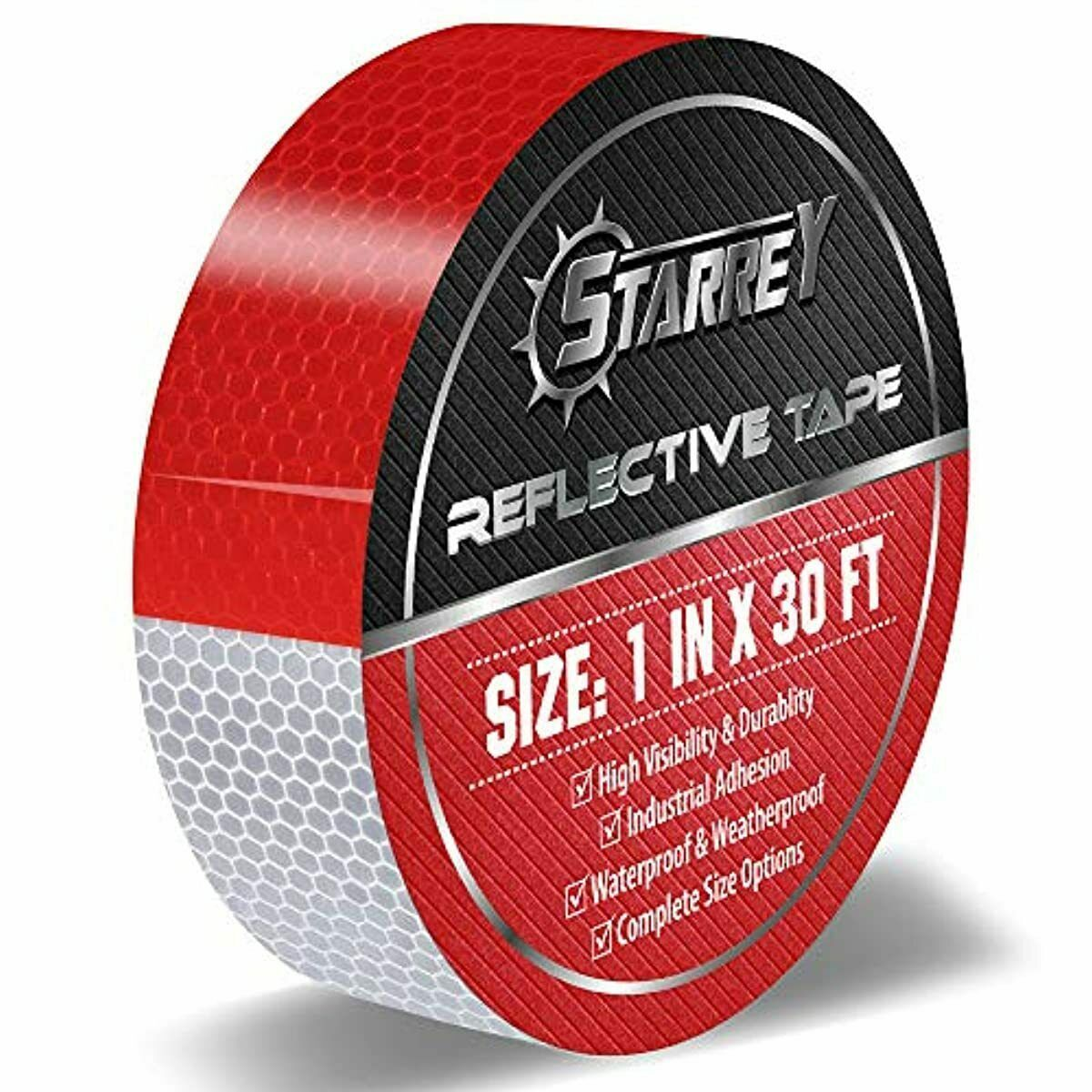Starrey Reflective Tape Red White 1 IN X 30 FT Waterproof Se