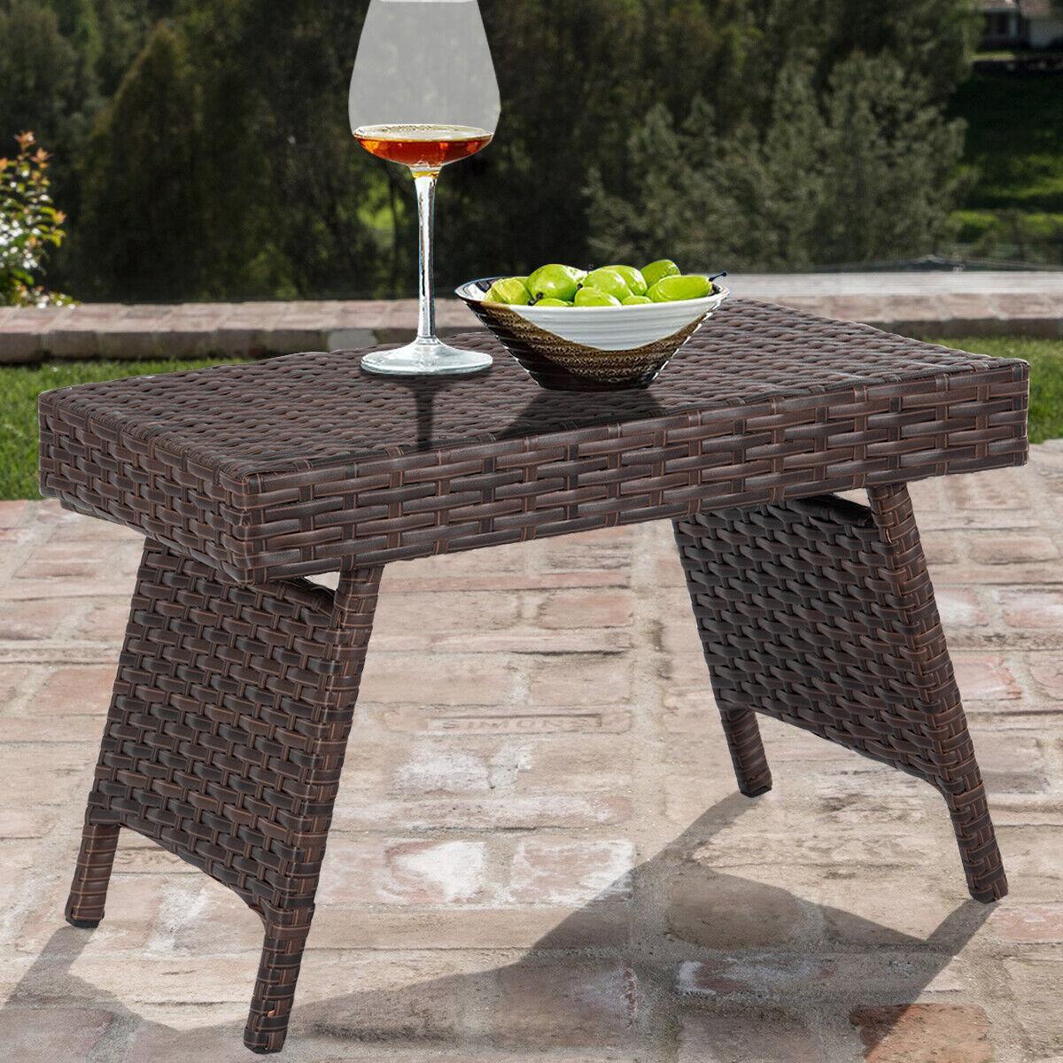 Gartentisch Rattan Rattan-Optik Tisch Balkontisch Bistrotisch mit Stahlgest