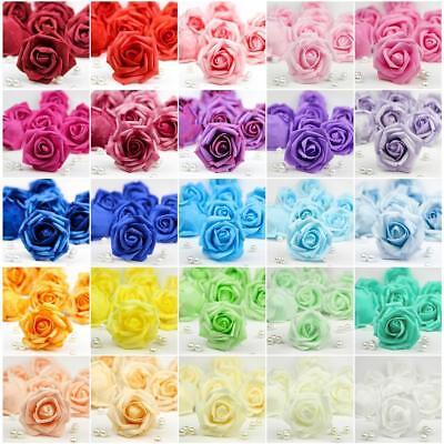 20X 50X Foam Roses Artificial Fake Flowers Heads Wedding Bouquet DIY Party Decor - Foam Flower