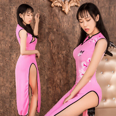 Lady Sexy Lingerie Chinese Doll Cheongsam Long Dress G-string Sleepwear Babydoll