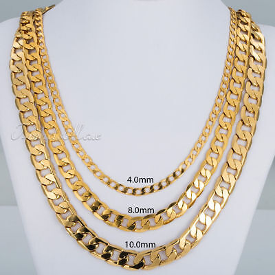 18 36  Mens Womens Yellow Gold Filled Gf 4 8 10Mm Curb Cuban Link Chain Necklace