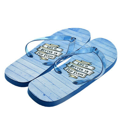 Blue Life is Better Design Blue Sole Mens Flip Flops UK 8-11 -