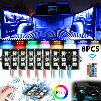 8Pcs RGB 48 LEDs Rock Lights Truck Bed Under Body Lighting Kit+IR Remote Control