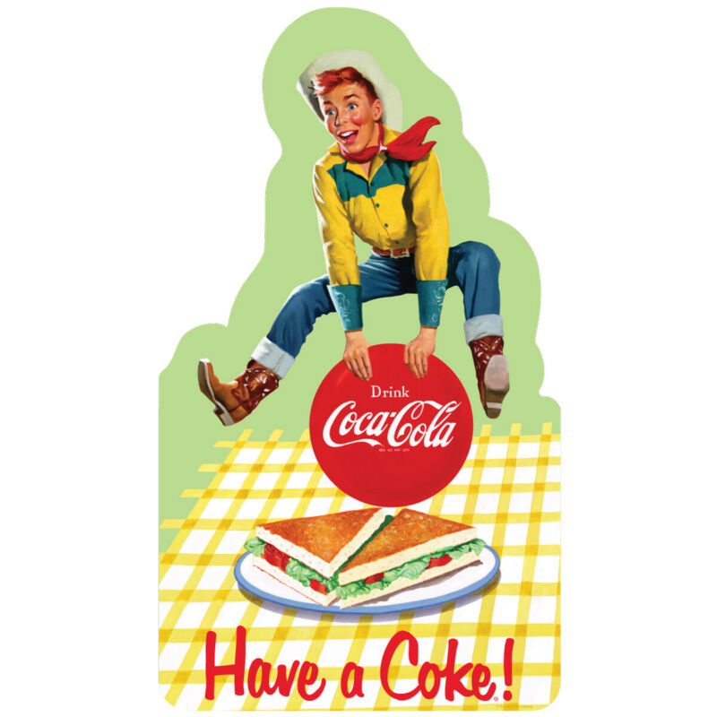 Drink Coca-Cola Cowboy Kid 1950s Wall Decal 24 x 14 Country Kitchen Decor