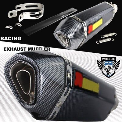 """1-1/4"""" Rolled Carbon Look Tip Motorcycle 1.5""""-2"""" Performance Exhaust Muffler Kit"""
