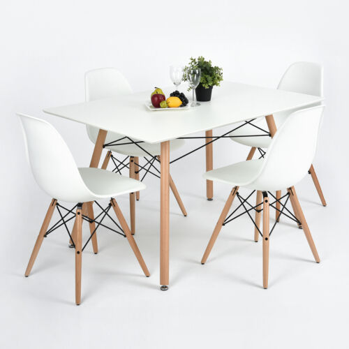 White dining table 4 chairs set x frame rectangle wood for Dining room chairs 50