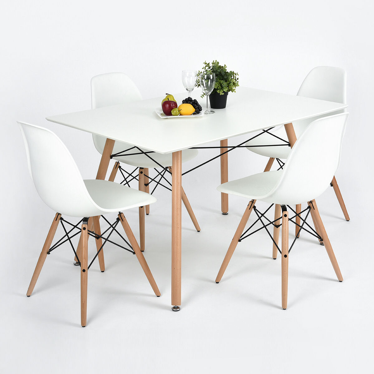 reputable site 6b65e 8f7ba Details about 4 X White Designer Dining Chairs and table Set Matte Wooden  Leg Table Chairs