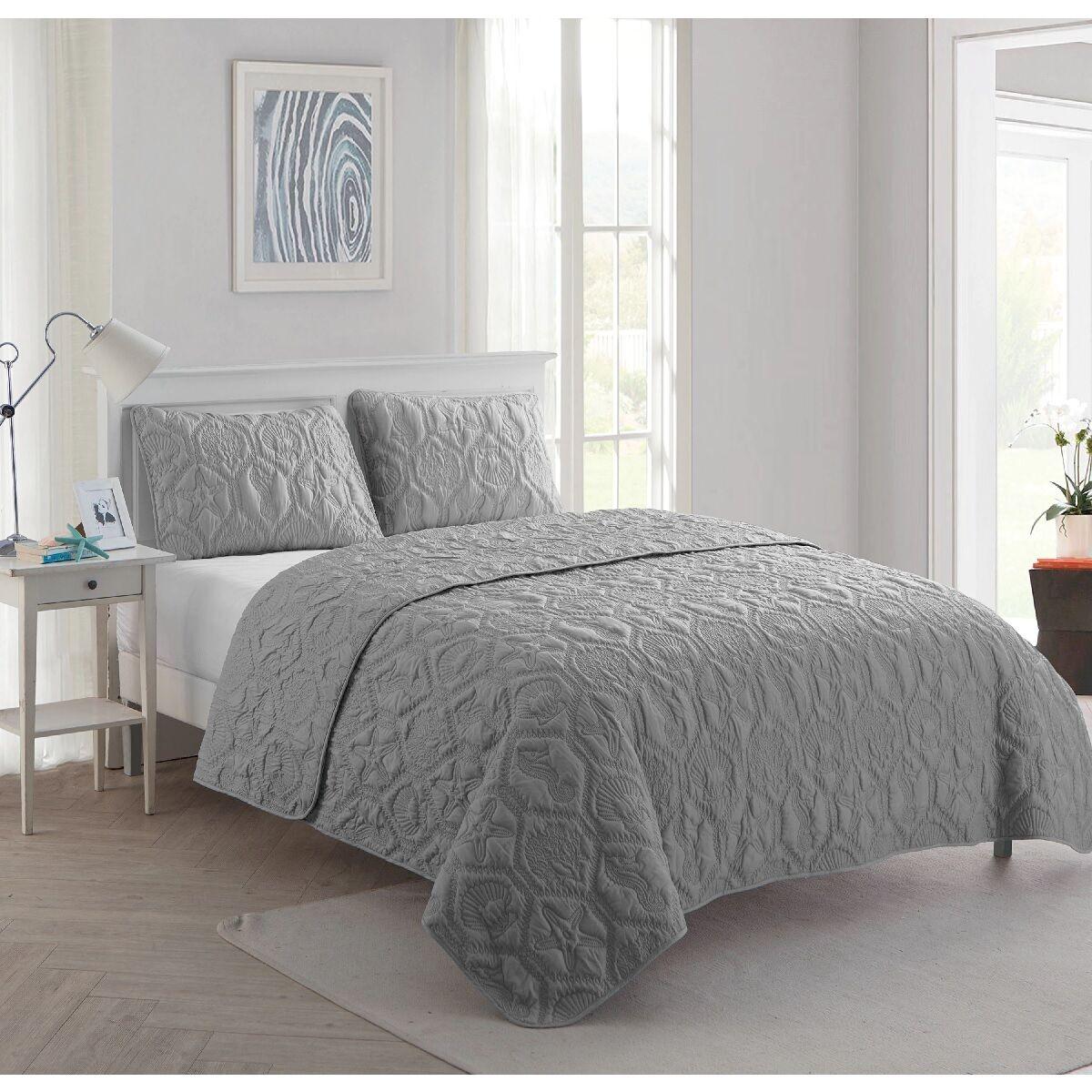 Coastal Quilt Set King Gray Bed Comforter Cover Beach Ocean