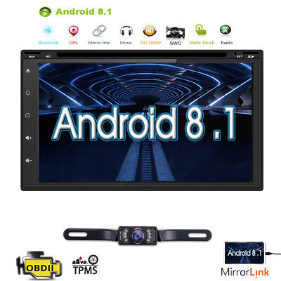 HIZPO Quad-Core Android 8.1 Car GPS DVD Player Stereo Double Din DAB OBD2 WIFI