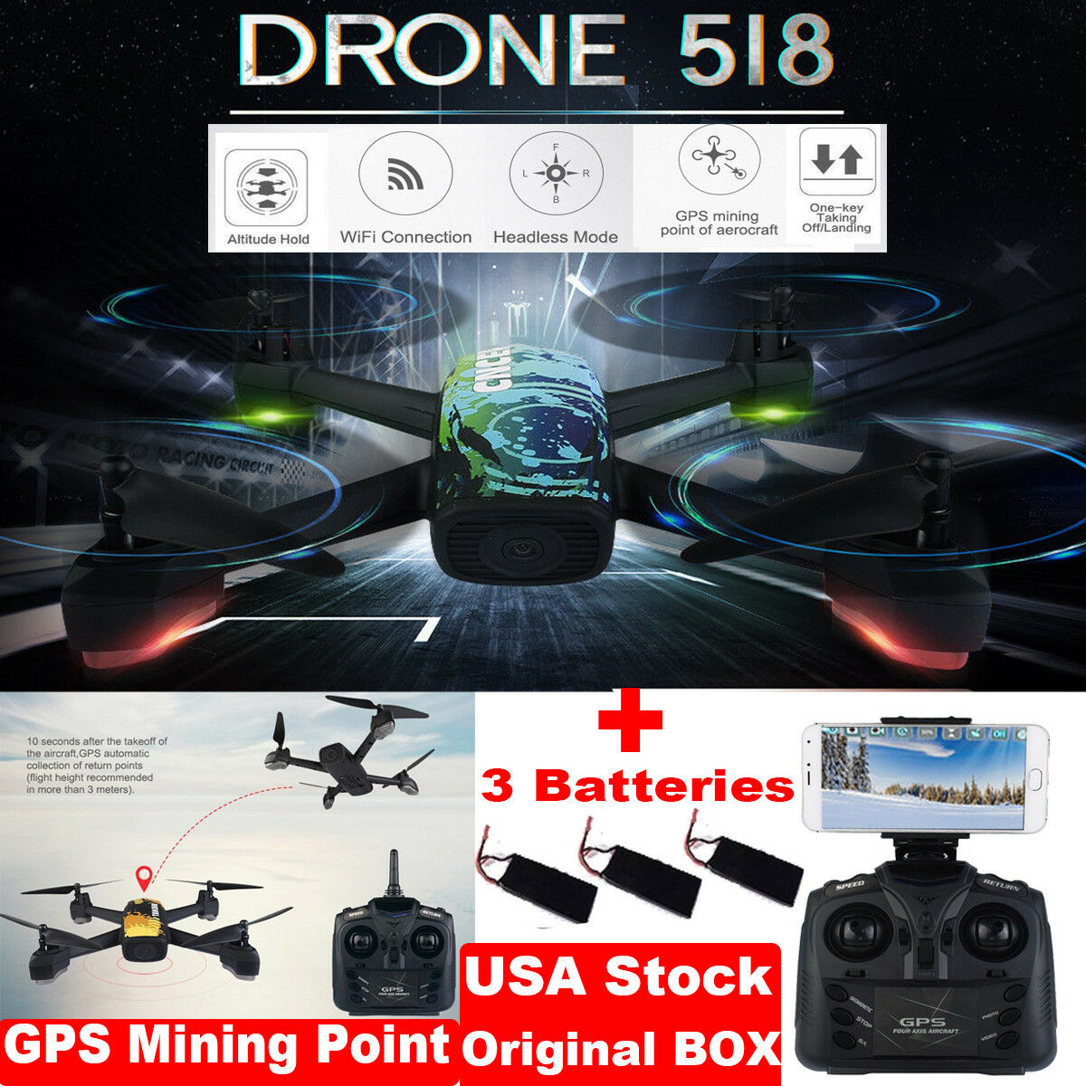 JXD 518 WiFi FPV RC Quadcopter Drone 720P Cam GPS High Hold Helicopter+3 Battery