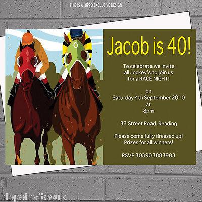 Personalised Race Night Horse Racing Birthday Party Invitations x 12 H0909 (Horse Racing Birthday Invitations)