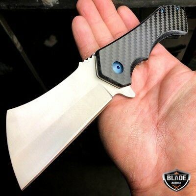 REAL CARBON FIBER CLEAVER TACTICAL Spring Assisted Pocket Knife FOLDING RAZOR