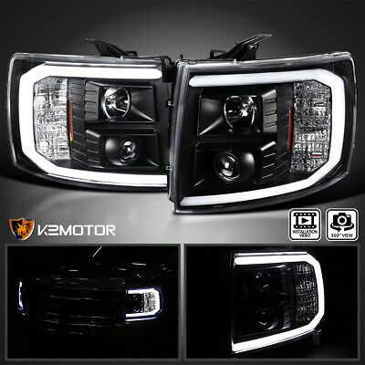 For 2007-2014 Chevy Silverado 1500 2500HD Black Projector Headlights LED Strip