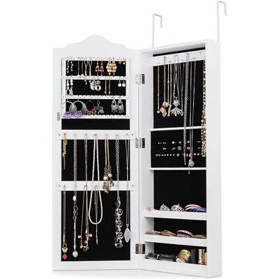 Wall Door Mounted Mirrored Jewelry Cabinet Armoire Storage Organizer White