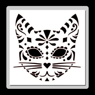 8 X 8 Sugar/Candy Skull CAT Face STENCIL Day of the Dead/Mexican Halloween/CUTE!