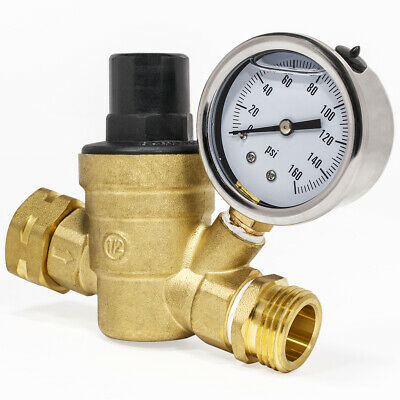 34 Water Pressure Flow Drip Valve Regulator Brass Adjustable Reducer W Gauge