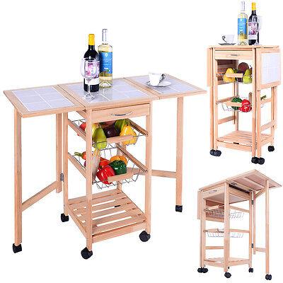 Portable Rolling Wood Kitchen Trolley Cart Drop Leaf Storage Drawers Rack Basket