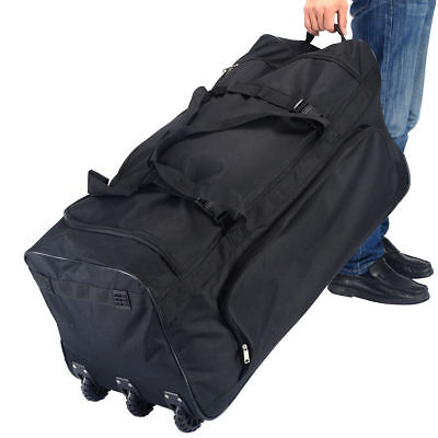 Large Black Rolling Wheels Duffle Tote Gym Bag Luggage Sports Travel Suitcase Black Large Rolling Luggage