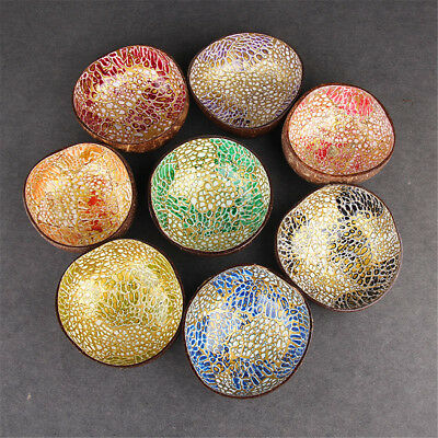 - Natural Paint Coconut Shell Handmade Bowl Dishes Salad Fruit Plate Craft Decor