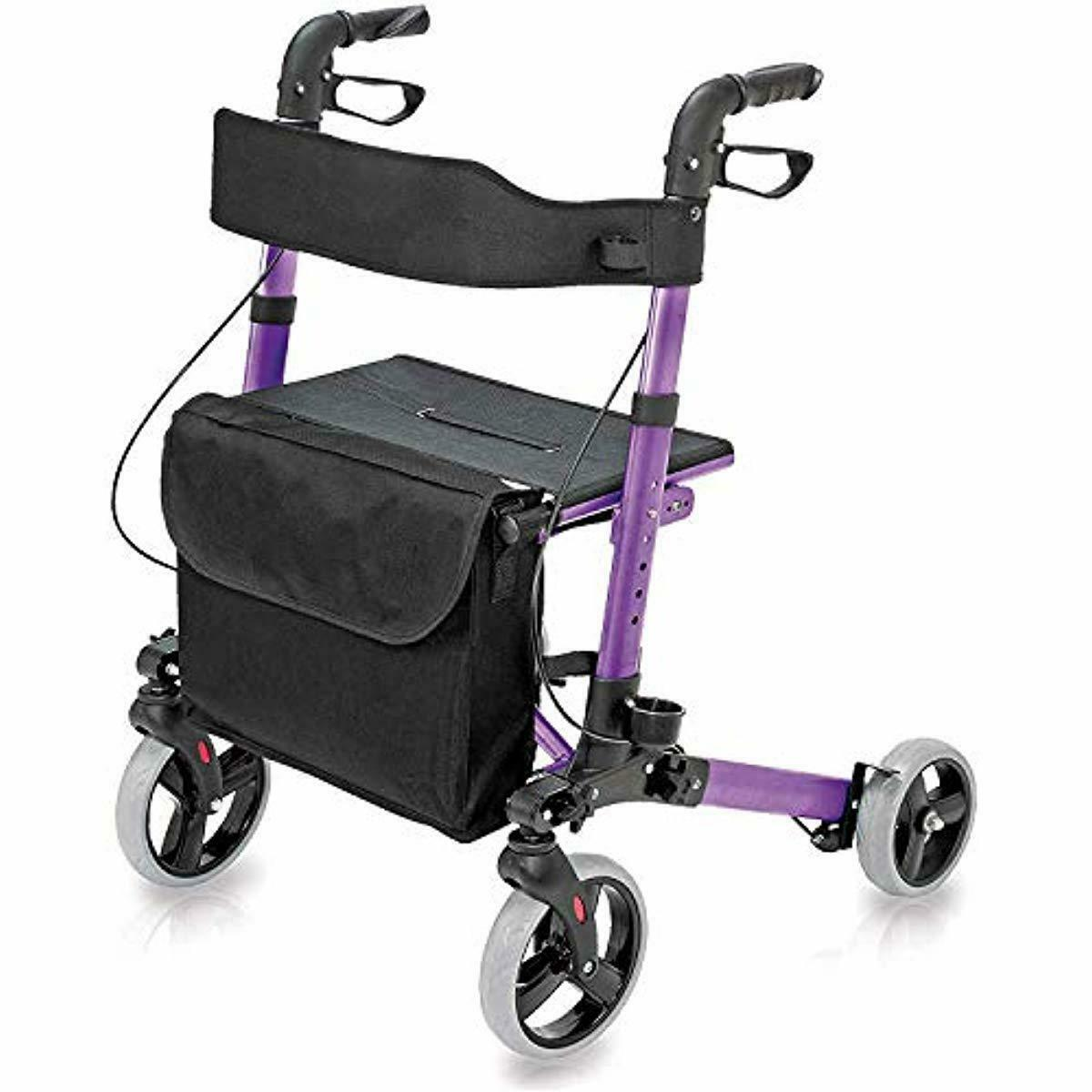 Folding Rollator Walker with Seat and Backrest Lightweight A