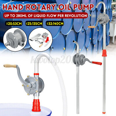 53 Self Priming Rotary Hand Oil Pump Fuel Fish Barrel Drum Syphon Transfer